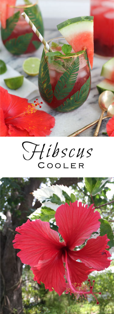 Hibiscus Coolers made with fresh flowers, watermelon, mint, and lime ...